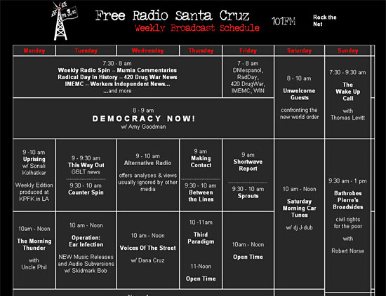 http://www.freakradio.org/schedule.html