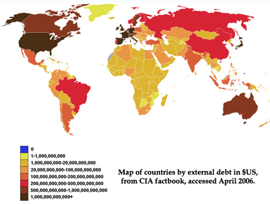 http://en.wikipedia.org/wiki/List_of_countries_by_external_debt